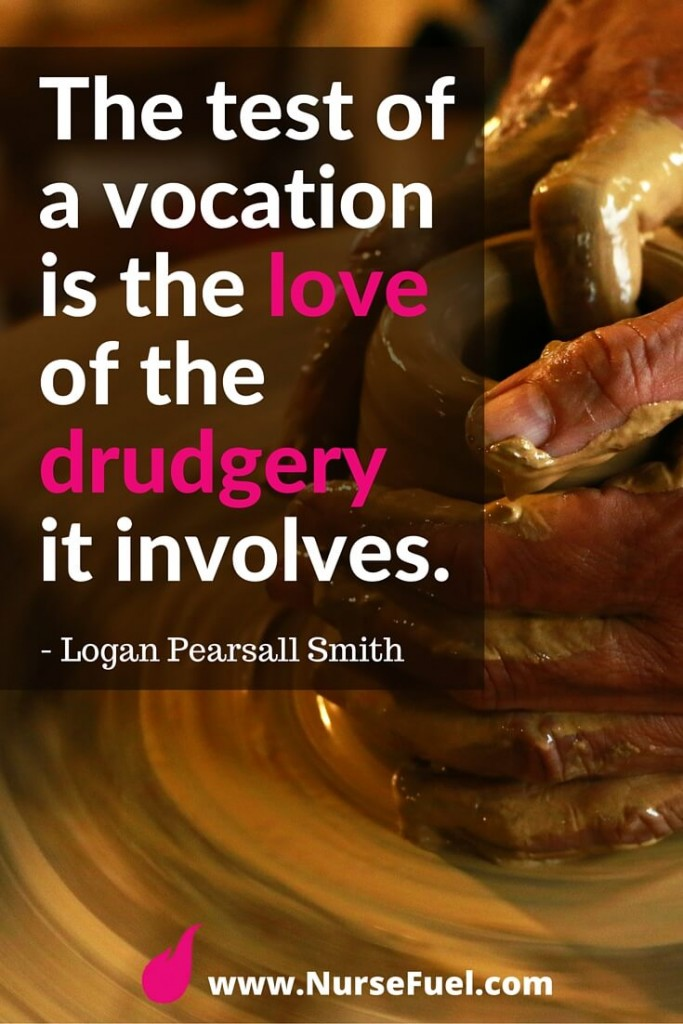 The test of a vocation is the love of the drudgery it involves - http://www.NurseFuel.com